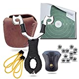 Hunting Slingshots Bundle : Slingshot,Slingshot Pouch, Genuine Leather Ammo Pouch and 100XSlingshot Ammunitions (6 in 1)