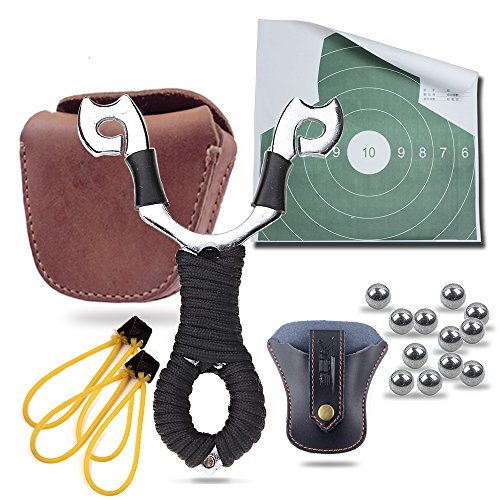 Black Leather Wrapped Snap (Hunting Slingshots Bundle : Slingshot,Slingshot Pouch, Genuine Leather Ammo Pouch and 100XSlingshot Ammunitions (6 in)