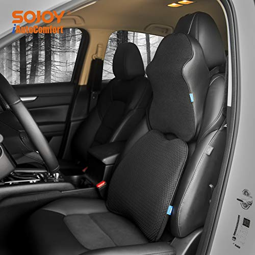 (Sojoy Patented Universal Ergonomic Streamlining Car Seat/Cushion Lumbar and Neck Support (17x13x6))
