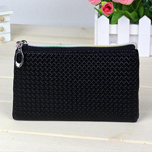 HuntGold 1 X Frauen PU-lederne Handtasche Reißverschluss Handtasche Lange Geldbörse Brieftasche (schwarz)