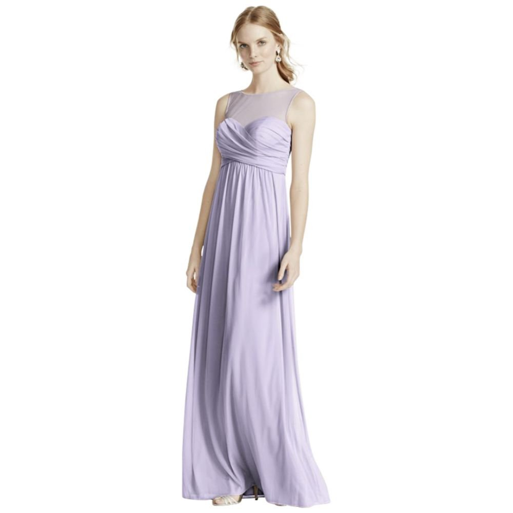 David's Bridal Long Mesh Bridesmaid Dress With Illusion Neckline Style F15927, Iris, 18