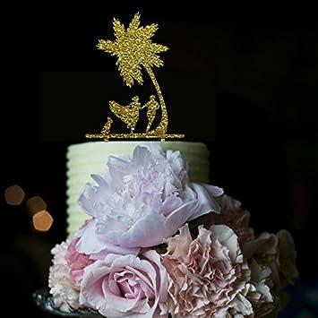 Amazon vintage wedding cake toppers palm tree running bride and vintage wedding cake toppers palm tree running bride and groom with dog for wedding cake decorations junglespirit Gallery