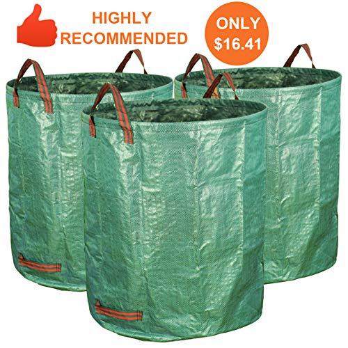 Gardzen 3-Pack 72 Gallons Garden Bag - Reuseable Heavy Duty Gardening Bags, Lawn Pool Garden Leaf Waste (Paper Refuse Bag)