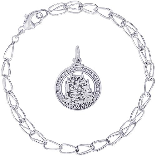 Rembrandt Charms Sterling Silver Chateau Frontenac Charm on a Double Twist Bracelet, 8