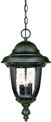Acclaim 3526BK Monterey Collection 3-Light Outdoor Light Fixture Hanging Lantern, Matte Black