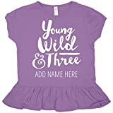 Custom Name Three Year Old Birthday : Toddler Rabbit Skins Ruffle Fine Jersey Tee