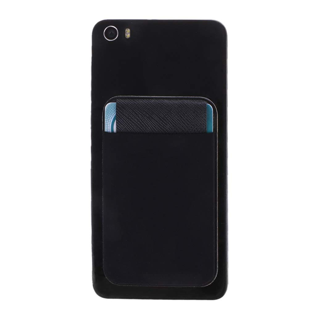 Hacloser Black Adhesive Card Holder for Back of Phone, Elastic Pocket Creative Money Case with Cover