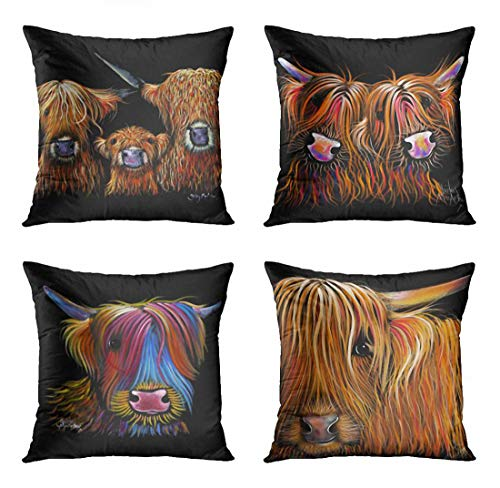 ArtSocket Set of 4 Throw Pillow Covers Scottish Highland Cows We Coos on Black Scotland Herd Hairy Cow The Decorative Pillow Cases Home Decor Square 18x18 Inches Pillowcases