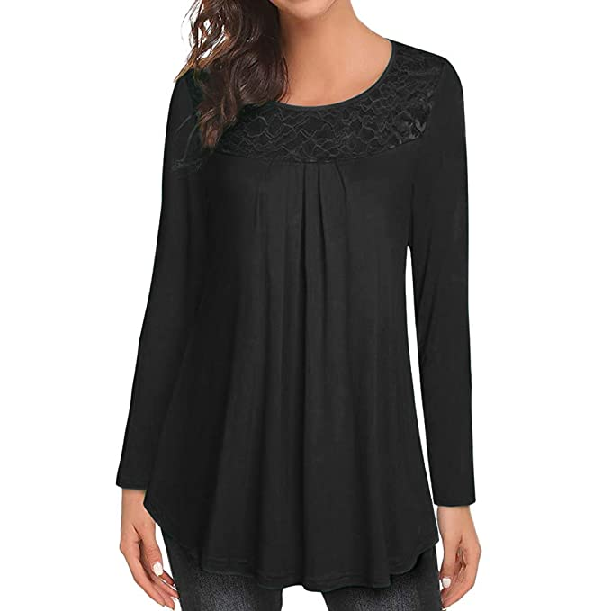 Gessppo Women Warm Shirts Solid Lace Patchwork Ruched Long Sleeve Ruffled Top Blouse at Amazon Womens Clothing store: