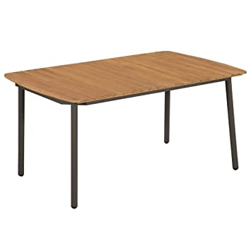 vidaXL Table d\'Extérieur Bois d\'Acacia Solide Acier Table de ...