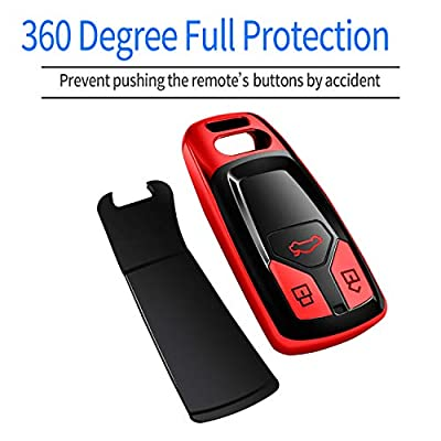 Autophone for Audi Key Fob Cover Case Premium Soft TPU 360 Degree Entire Protection Key Shell Key Case Cover Compatible with Audi A4 A5 Q5 Q7 TT TTS S4 S5 RS4 RS5 Smart Key (only for Keyless go)-Red: Automotive