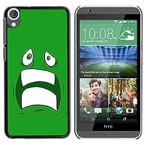 LECELL -- Funda protectora / Cubierta / Piel For HTC Desire 820 -- Cool Sad Scared Face Ugly Fear Cartoon Green Teeth --