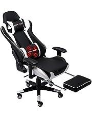 NOKAXUS Gaming Chair Office Grote Size High-Back Ergonomische Racing Seat met Massage Lumbale Ondersteuning en intrekbare Voetsteun PU Leer 90-180 graden Aanpassing van rugleuning Verdikking sponzen