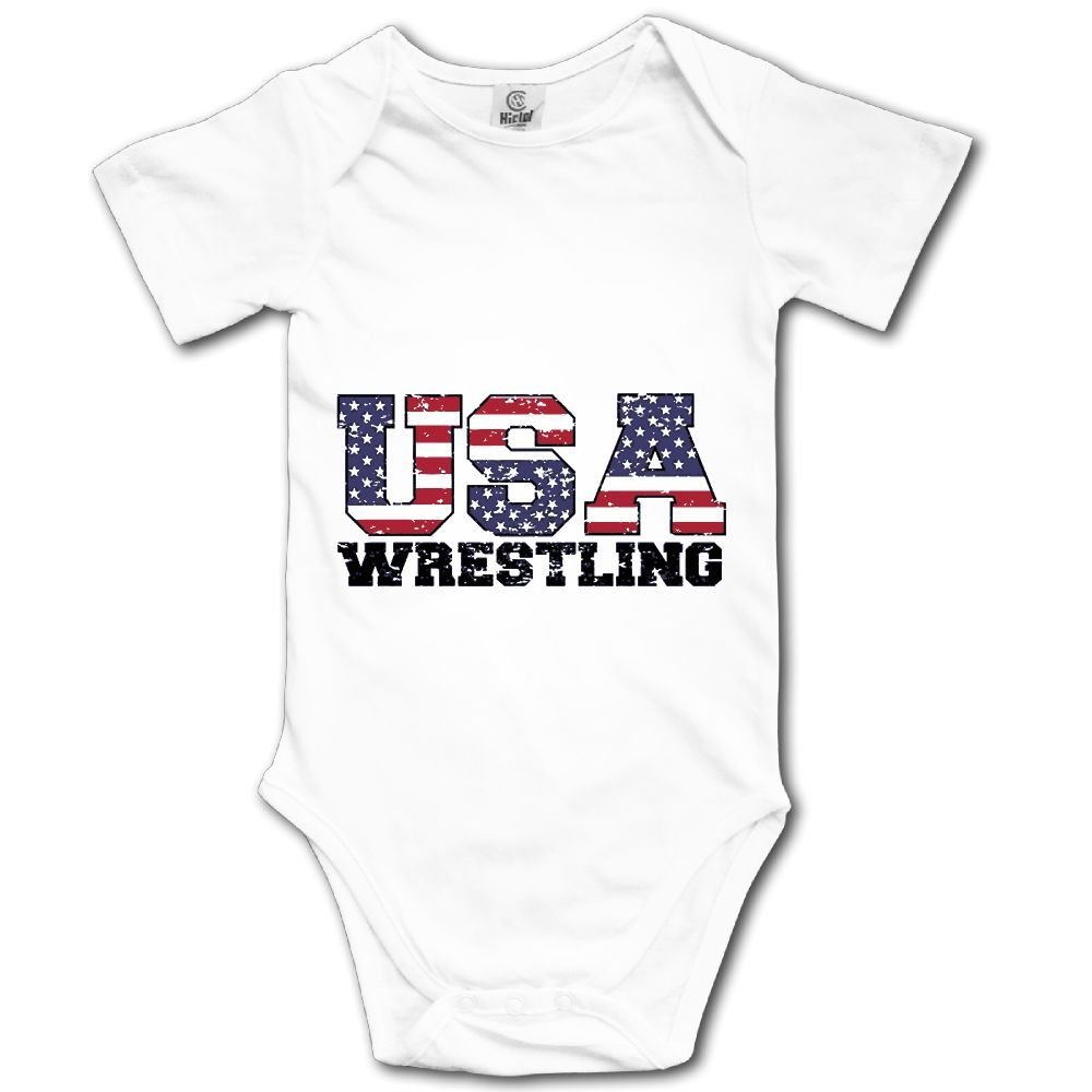 WWTBBJ-B USA Wrestling Printed Baby Boy Girl Short Sleeve Jumpsuits Playsuit Outfits
