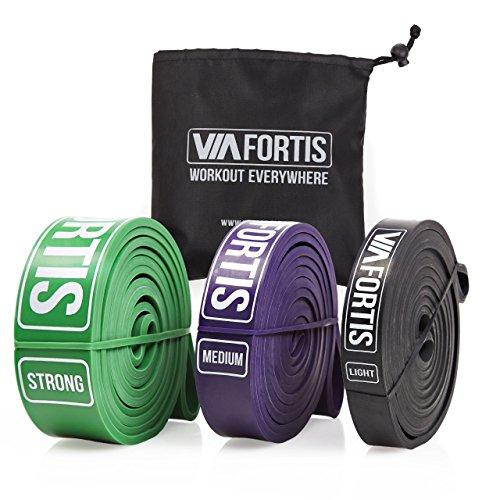 VIA FORTIS Premium Fitnessbänder - Klimmzug-Band für CrossFit Calisthenics oder Freeletics Workout - Resistance Band mit praktischem Transportbeutel - Widerstand MEDIUM (Lila)