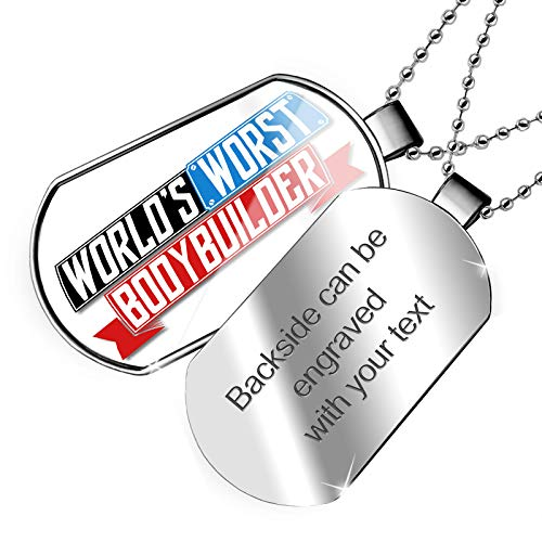 NEONBLOND Personalized Name Engraved Funny Worlds Worst Bodybuilder Dogtag Necklace