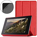 Folio Case Fire 7 2017Tablet Lightweight Slim Shell Shock Proof Protective Cover Tri-fold Stand Smart Auto Wake/Sleep Table Cover Amazon Fire 7 (7th Generation, 2017 Release) Red