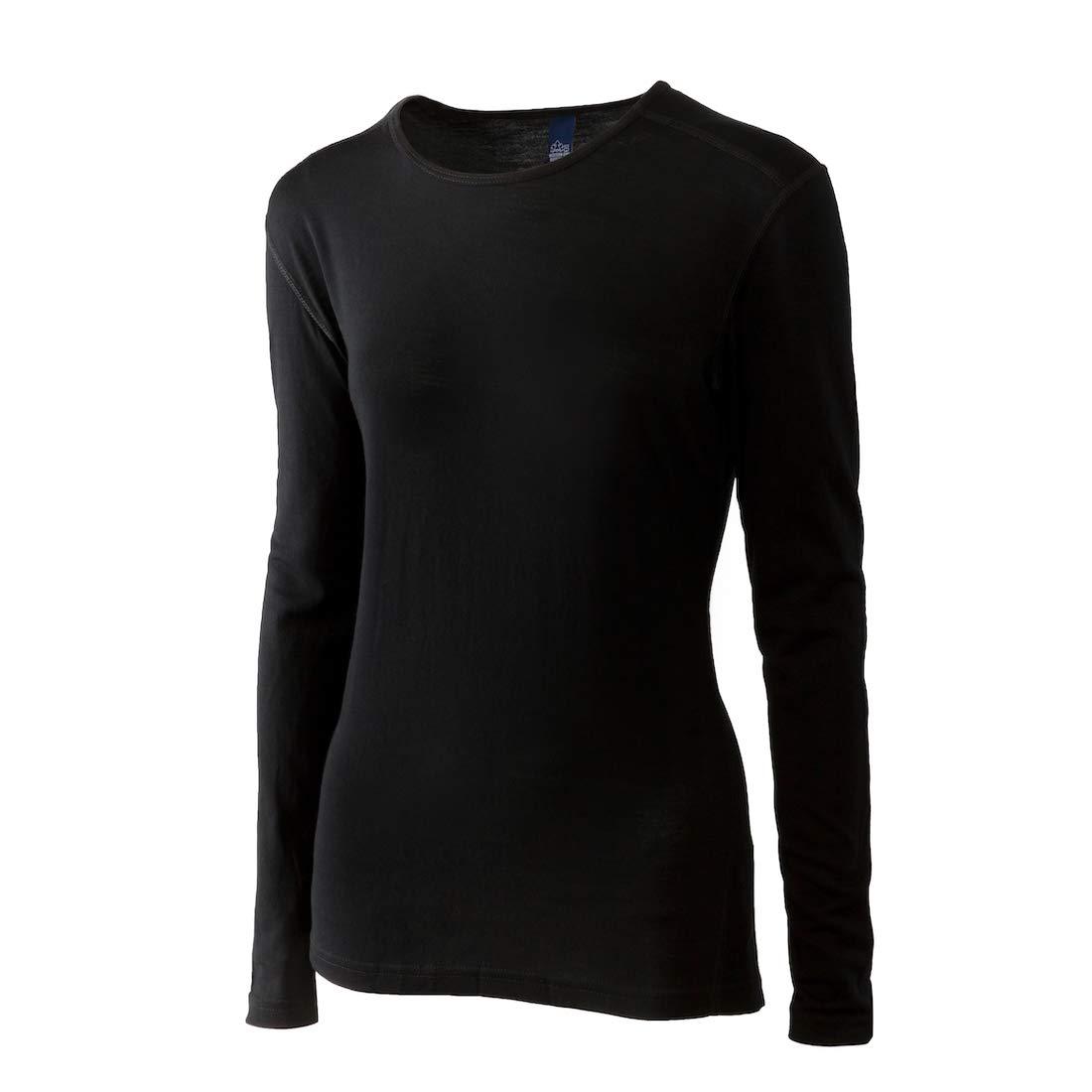 Merino Wool Women's Long Sleeve Top | Crew Neck Shirt- Lightweight, Moisture Wicking - Top Base Layer | 100% Australian Merino Wool (Medium, Black)