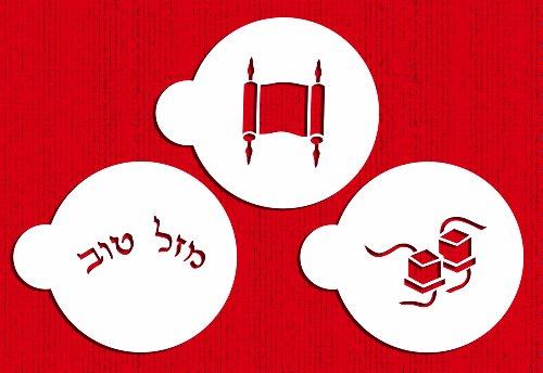 Designer Stencils C205 Bar Mitzvah Cookie Stencils, Torah - Mazel Tov (In Hebrew) - Tefilli, Beige/semi-transparent