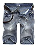 MrWonder Men's Fashion Ripped Distressed Straight Fit Denim Shorts with 5 Pockets Light Blue 42