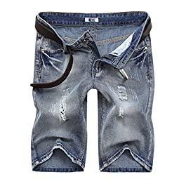 MrWonder Men's Fashion Ripped Distressed Straight Fit Denim Shorts with 5 Pockets