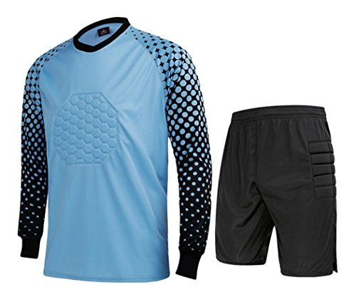 Men's Football Goalkeeper Foam Padded Jersey Shirt & Shorts(Blue,M) Tag Size: XL ()