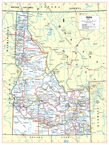 Cool Owl Maps Idaho State Wall Map Poster Rolled 24