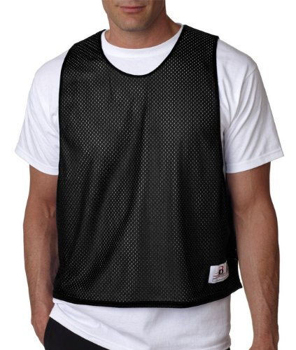 Badger Men's Comfortable Sleeveless Mesh Tank Top, Black/ White, Large / X-Large (Lax Pinnies Men)