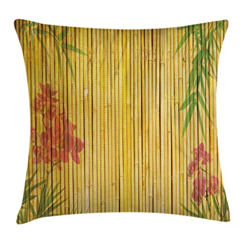 Ambesonne Bamboo Throw Pillow Cushion Cover, Lotus Flower and Bamboo Background on Stems Tropical Plant Oriental Art, Decorative Square Accent Pillow Case, 18 X 18 Inches, Yellow Lime Green Pink
