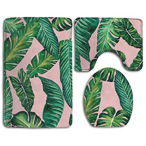 Jungle Leaves Banana Monstera Pink Bath Rug Set 3PCS Memory Foam Non-Slip Bathroom Rug Contour, Mat and Toilet Lid Cover