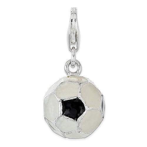 Sterling Silver 3-D Enamel Soccer Ball w//Lobster Clasp Charm Pendant