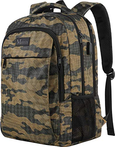Camo Backpack, Camouflage Outdoor Travel Laptop Backpack for Travel Accessories, Lightweight Durable School Bag with Charging Port Fashion Daypack for Men and Women Fit 15.6 Inch Laptop & Computer