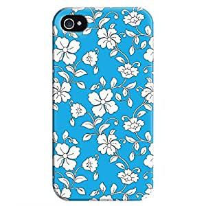 Iphone 4 4S Case,JIANSE Stylish Full Protective Slim Fit Durable Flexible Beautiful Vintage White Flowers Blue Floral Pattern Hard Back Cover Case Bumper for Iphone 4 4S