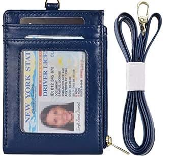 Beurlike Bifold ID Badge Holder Case Leather Credit Card Wallet Neck Lanyard (Darkblue)