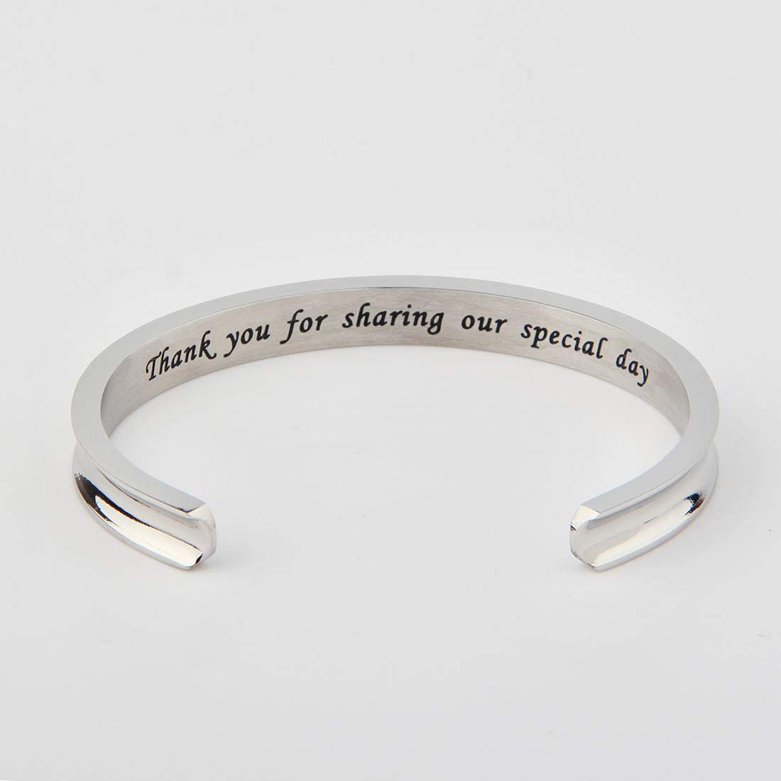 WUSUANED Thank You for Sharing Our Special Day Hair Tie Deep Grooved Cuff Bracelet Wedding Party Favor Gift