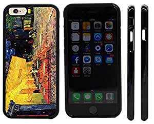 Rikki KnightTM Van Gogh Art The Caf¨¦ Terrace Design iPhone 6 Case Cover (Black Rubber with front bumper protection) for Apple iPhone 6