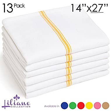 Liliane Collection Kitchen Dish Towels - Commercial Grade Absorbent 100% Cotton Kitchen Towels - Classic Tea Towels (13, Yellow)