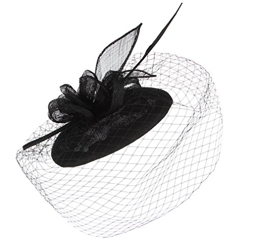 Hats Women 1940 (Gemvie Vintage Fascinator Floral Feather Hat Netted Veil Headband Hair Clip Black)