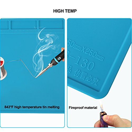 Heat Resistant Soldering Silicone Mat Repair Insulation Pad Screw Tray Maintenance Platform Work Mat Phone Repair tools for Soldering Iron Station, Phone Repair Computer Repair Watch Repair by Kaisiking (Image #5)