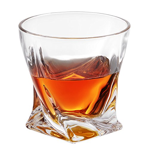MIVIM Twist Whiskey Glasses set of 2, Double Old Fashioned Glass 10 oz,Premium Lead-Free Crystal Glass Cups Clarity Fits Large Ice Cube, Scotch, Bourbon, Irish Whisky, Brandy.Beautiful Gift Box. Large Lead Crystal