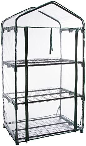 Pure Garden 3-Tier Greenhouse Outdoor Gardening Hot House with Zippered Cover and Metal Shelves for Growing Vegetables, Flowers and Seedlings
