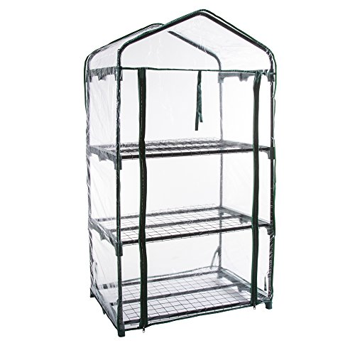 Pure Garden 3 Tier Mini Greenhouse with Cover, 27.5 x 19 x 50″