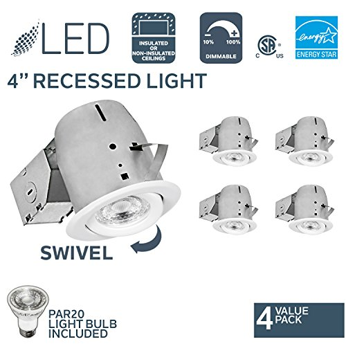 Nadair 4in LED Recessed Lighting Kit (x4) Swivel Spotlight Dimmable Downlight - IC Rated - 3000K Warm White PAR20 630 Lumens Bulbs (50 Watts Equivalent) Included - 4-Pack White Color (Included Downlight Kit)