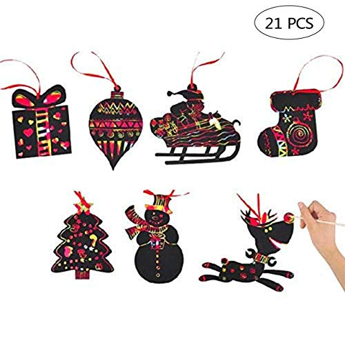 PPXMEEUDC 21 PCS Christmas Scratch Ornaments Magic Rainbow Color Craft Kit Toy with Snowman Reindeer Gift Box Socks Christmas Tree for Kids Xmas Crafts Art Decorations (Craft Xmas Easy)