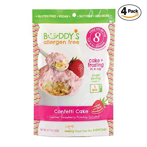 (Buddy's Allergen Free: {CONFETTI} Gluten Free Cakes - Frosting Included - Vegan Dessert - Nut Free Cakes - Top 8 Allergen Free Food - Nut Free Desserts - Mug Cakes - Gourmet Snack 4 PACK (16oz))