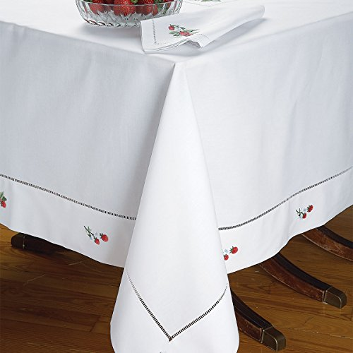 Strawberry Fields Napkins, White (1 Dozen) by Schweitzer Linen
