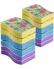 MR.SIGA Cellulose Scrub Sponge, 12 Count, Size 11 x 7 x 2.2cm