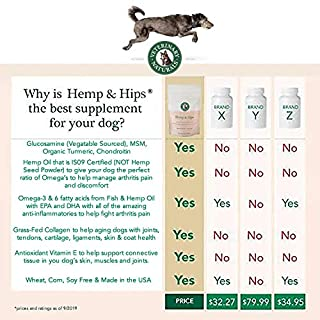 Veterinary Naturals - Hemp & Hips - Hip & Joint Supplement - 60 Soft Chews - Relieve Hip & Joint Pain, Help Relieve Arthritis, Formulated for Aging Dogs