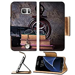 Luxlady Premium Samsung Galaxy S7 Flip Pu Leather Wallet Case IMAGE ID: 25812367 Group of objects on wood table wood clock old watch retro radio camera Still life