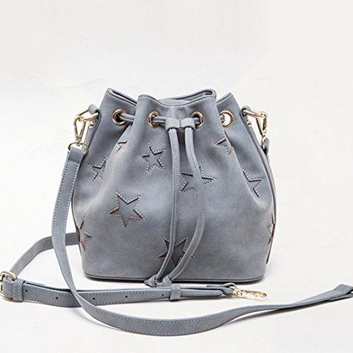 Grey PU Cross Bag Star Oversized Millya Drawstring Shoulder Bag Pattern Women Bucket Leather Handbag Body TqOq6w8F